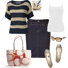 A fashion look from March 2012 featuring striped sweater, cotton tank tops and dark blue pencil skirt. Browse and shop related looks.