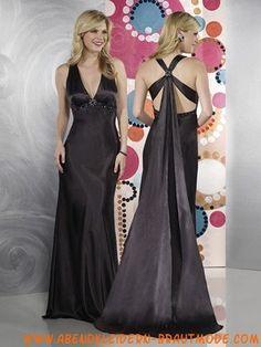 Schwarze preiswerte Abendkleider aus Stretchsatin mit Nackhalter