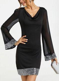 Polyester diz st seksi uzun kollu kat elbiseler i studied mary kate and ashley olsen outfits to find the 5 basics they endorse All Black Dresses, Elegant Dresses, Women's Dresses, Beautiful Dresses, Nice Dresses, Evening Dresses, Casual Dresses, Short Dresses, Hijab Fashion