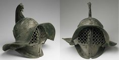 Roman gladiatorial helmet, Thraex helmet, 1st century A.D. Found in the gladiators' barracks at Pompei Louvre museum