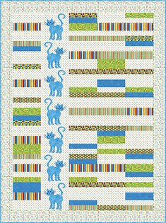 """Mod Meow - PTN980 Jane Spolar of Quilt Poetry Based on Stonehenge Kids Rainbow Coordinates collection - by Deborah Edwards and Linda Ludovico Size: 70"""" x 94"""""""