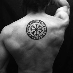 Mens Simple Compass Tattoo Ideas On Upper Back