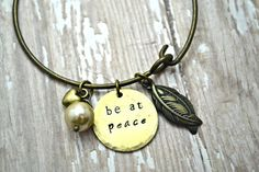Stamped Bracelet Bangle Charm Bangle Mantra by BeautyInBaubles