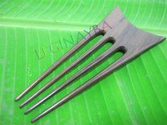 wooden hair fork 4 prongs
