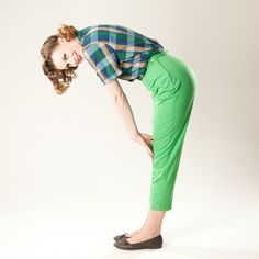 Vintage 1960s Green Pants High Waisted Cigarette Capri 1950s