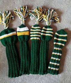 Golf Club Head Covers Hand Knit by karenshelton1 on Etsy