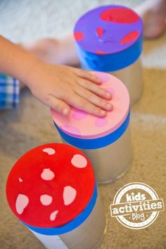 I am obsessed with how simple and easy these DIY musical instruments are to make! They are all great crafts for kids and DIY toys for moms to make, and great kids activities for music and movement. Drum Lessons For Kids, Drums For Kids, Music Activities For Kids, Preschool Activities, Indoor Activities, Instrument Craft, Musical Instruments, Formula Can Crafts, Diy For Kids