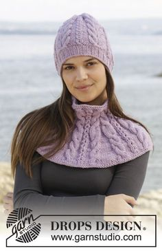"Knitted DROPS hat and neck warmer with cables in ""Alaska"". ~ DROPS Design"