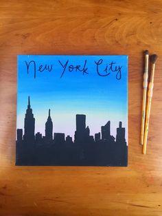New York City skyline silhouette handmade canvas art image 4 Small Canvas Paintings, Small Canvas Art, Mini Canvas Art, Mini Paintings, New York Painting, City Painting, Skyline Painting, Skyline Art, Art Mini Toile