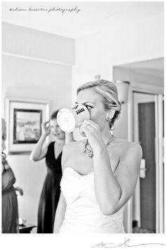 pink champagne in monogrammed mugs on your wedding morning :) | alisonlassiter.com