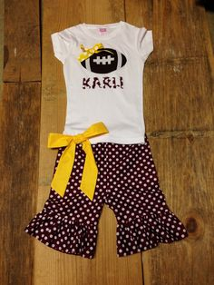 Girls Game Day Outfit. Personalized Football Shirt & Ruffle Pants Capris or Short. Burgundy White Dot. Any Team Colors By EverythingSorella by EverythingSorella on Etsy