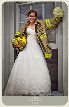 Love the Wedding dress and Fireman's Jacket! Or have the groom in uniform carrying off the bride like he is saving her:)