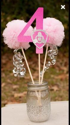Skye centerpieces Paw Patrol Birthday Girl, Paw Patrol Party, Fete Emma, Kendall Birthday, Cumple Paw Patrol, 4th Birthday Parties, 3rd Birthday, Second Birthday Ideas, Puppy Party