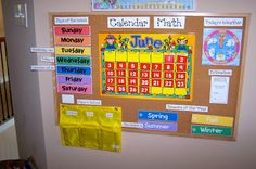 Love this Calendar Bulletin board area by The Princess and the Tot Homeschool Room Organization is part of Daycare organization - Preschool Rooms, Preschool At Home, Preschool Learning, Preschool Activities, Preschool Calendar, Home Daycare Rooms, Daycare Crafts, Toddler Calendar, Daycare Spaces