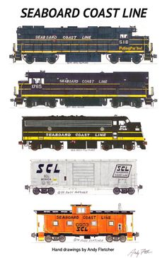 """An 11""""x17"""" poster of Andy Fletcher's hand drawings of Seaboard Coast Line locomotives and rolling stock."""