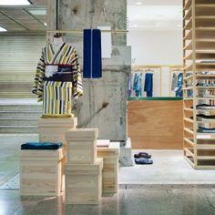 Yusuke Seki's second kimono store pairs  patterned fabrics with raw materials