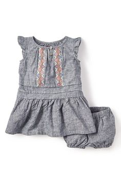 Tea+Collection+Embroidered+Chambray+Dress+&+Bloomers+(Baby+Girls)+available+at+#Nordstrom