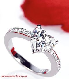 heart shaped diamond valentines day wedding ring