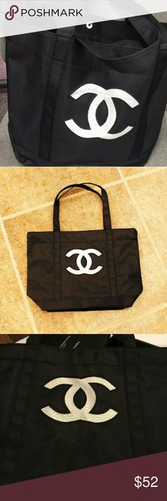 CHANEL VIP TOTE BAG Beautiful and Trendy with WHITE  CC Sequins SIZE: Approx 11x16 inches Bags Totes