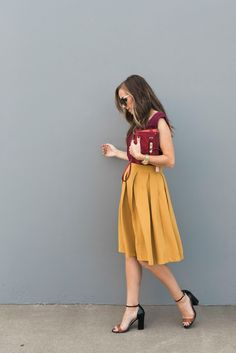 Mustard skirt and berry top from my @relishclothing box