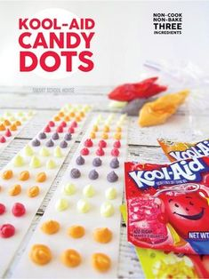 Kool-Aid Candy Dots. An easy candy recipe that doesn't require any cooking! No Bake and only 3 ingredients!