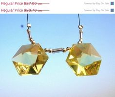 XMAS SALE 2Pcs 1 Pair - Genuine AAA Green Gold Lemon Quartz Faceted Fancy Star Briolettes Size 16x16mm Approx