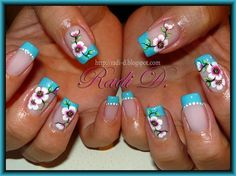 Blue French & Flowers - Nail Art Gallery