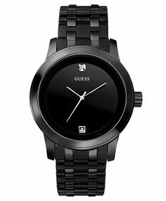 GUESS Watch, Men's Black Ion Plated Stainless Steel Bracelet 38mm U12604G1