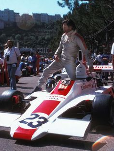 Graham Hill steps out of his own construction, the Embassy Hill Ford GH1, at the Monaco Grand Prix 1975