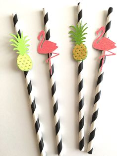 Flamingo and Pineapple Paper Straws ~ Aloha Party ~ Luau Party ~ Summer Party…