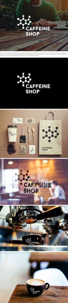 Coffee shop branding uses caffeine molecule as logo / Caffeine Shop / Branding / Ideas / Inspiration / Brand / Design / Minimal / Simple / Industrial / Cafe / Hipster / Creative