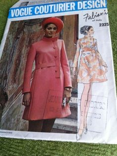 Vintage Vogue COUTURIER UNCUT 60's SZ14/36 FABIANI OF ITALY 1 PC DRESS A-LINE sold 9/7/13 for 9.01+2.41 11 bids