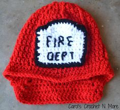 Crochet Fireman Hat Photography Prop by ThatsSewCarol on Etsy