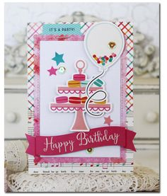 Happy Birthday Card by Melissa Phillips Supplies:   Party Time Happy Birthday Paper by Echo Park Party Time Surprise Part...