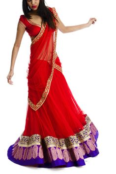 Red Lehenga with Purple Zari & Brocade Indian Attire, Indian Ethnic Wear, Indian Girls, Indian Style, Ethnic Fashion, Colorful Fashion, Indian Fashion, High Fashion, Red Lehenga