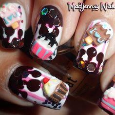 Nail Art Helados y cupcakes de chocolate 3D