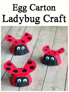 ladybug egg carton craft - bug crafts-  recycle craft - acraftylife.com #spring #recycle