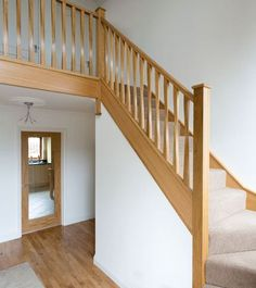 This elegant twisted spindle staircase was expertly handcrafted by master carpenters and features our Eden spindles and Cherwell newel posts. Staircase Spindles, Timber Staircase, House Staircase, Oak Stairs, Wooden Staircases, Wooden Stairs, Banisters, Stair Bannister Ideas, Railing Design