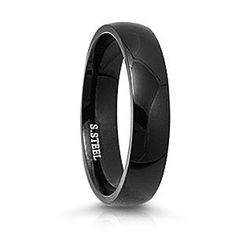 316L Stainless Steel Ring with Black IP Plating - Plain Ring - Face Height : 5mm , Band Width: 5mm