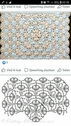 Crochet Tablecloth Pattern, Crochet Motif Patterns, Crochet Diagram, Crochet Squares, Crochet Chart, Crochet Designs, Crochet Wool, Crochet Projects, Knitting
