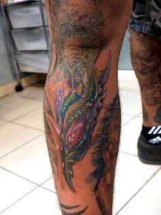 Color bio mechanical tattoo on men leg Leg Sleeve Tattoo, Tattoo Sleeve Designs, Tattoo Designs For Women, Back Tattoo, Henna Designs, Best Leg Tattoos, Unique Tattoos, Tattoos For Guys, New Tattoo Styles