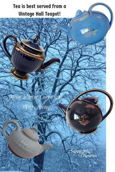 Read about some of my favorite ceramic Hall teapots and why I love them. Here you'll find information about vintage Hall China Teapots, their shapes and unique colors. A Hall teapot makes a thoughtful Christmas gift for a tea drinker! #teapots #Christmas