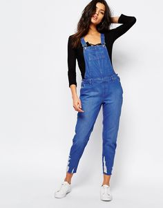Image 1 ofRiver Island Distressed Dungaree