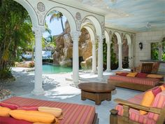 Covered patio of luxury home in Lighthouse Point, Florida