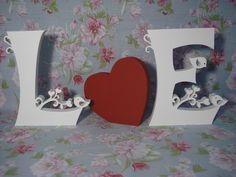 Letra mdf. Conjunto 2 letras + coração
