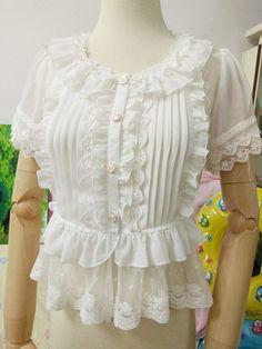 Summer Vintage Lolita Sweet Japanese Lace Chiffon Falbala Princess Blouse Tops