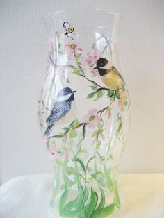 Items similar to Handpainted glass hurricane with chickadees on Etsy Hand Painted Wine Glasses, Painted Vases, Bottle Painting, Glass Jars, Glass Containers, Bottle Crafts, Hurricane Glass, Decoupage, Chickadees