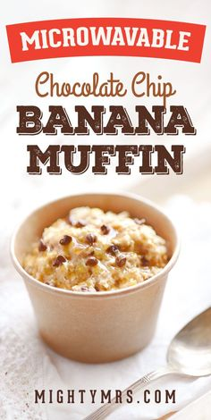 Microwave Chocolate Chip Banana Muffin - This easy muffin recipes is quick and healthy too! This muffin is egg-free, oil-free and sweetened with honey not sugar. Just mix everything together, and microwave for one minute. Top with honey and it's the perfect afternoon snack or breakfast on the go. #microwavemuffins #microwavemugmuffin