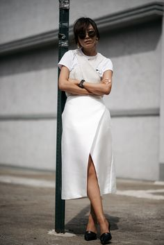 Brochu Walker Ines Wrap Tank_1 Brochu Walker The Ines Wrap Tank EGRET | Vince Claire Two-Piece Leather Pump, Black | CALVIN KLEIN Logo-print cotton-jersey t-shirt | C/MEO Collective satin wrap skirt