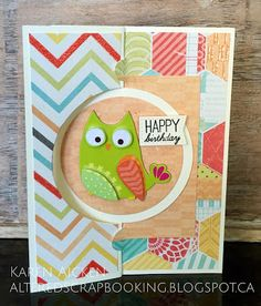 Altered Scrapbooking: Birthday Owl Pull Card